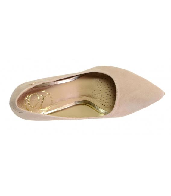 Elegantné béžové lodičky z brúsenej kože DLO016-1