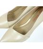 Béžové elegantní kožené lodičky na nízkém podpatku 861-6023