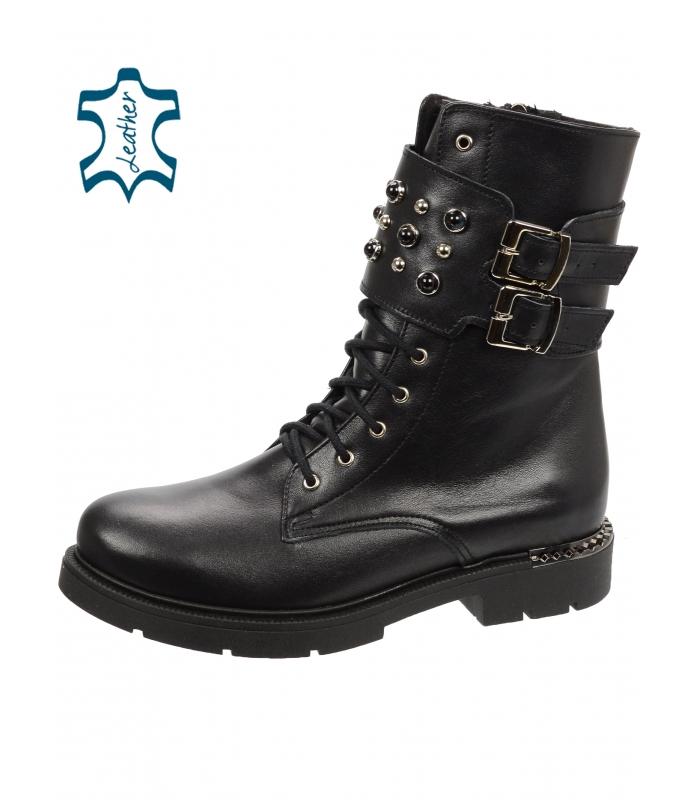 Čierne workery s čiernymi perlami DKO063