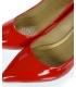 Červené lakované lodičky na nízkom podpätku A032