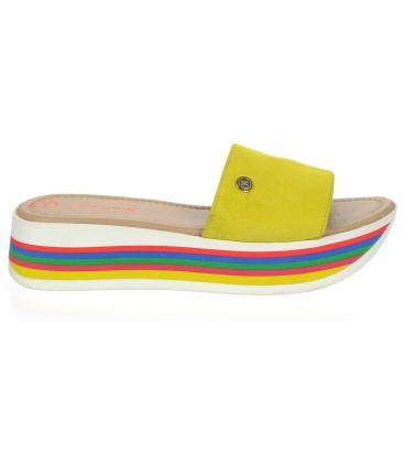 Žlté kožené šľapky na farebnej MARLENE podošve DSL3000
