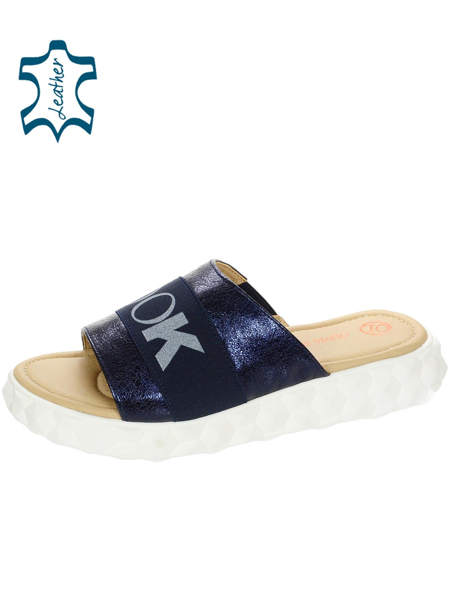 Modré lesklé kožené pantofle s gumou DSL3000