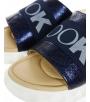 Modré lesklé kožené šľapky s gumou DSL3000