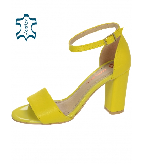 Žlté kožené dámske sandále DSA2050