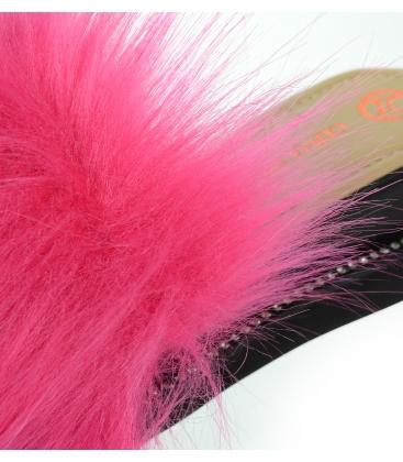 Čierne kožené šľapky s ružovou kožušinkou SHINE DSL3001