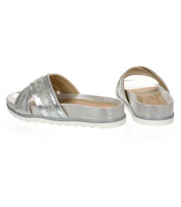 Stříbrné dámské pantofle na stříbrné podešvi DSL071