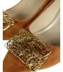 Škoricové lodičky so zlatou ozdobou DLO2085