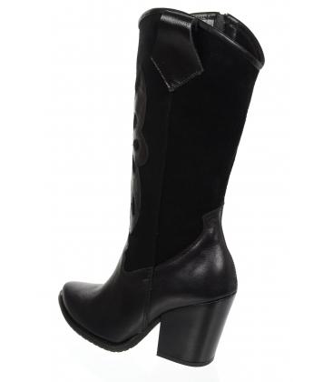 Černé kožené kozačky western s vykrojeným vzorem DKO2051