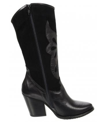 Čierne kožené čižmy western s vykrojeným vzorom DKO2051