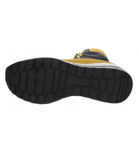 Čierno- žlté pohodlné členkové tenisky s vysokým zaväzovaním DKO 3022