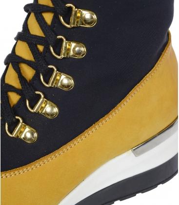 Černo- žluté pohodlné kotníkové tenisky s vysokým zavazováním DKO 3022