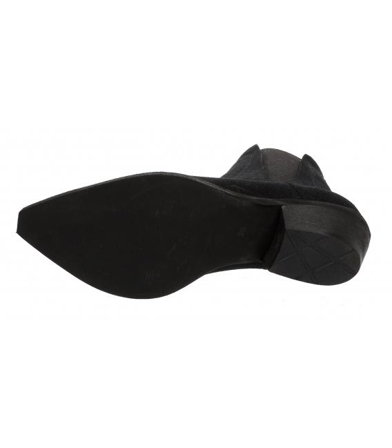 Čierne členkové kožené čižmy western DKO4433