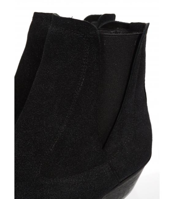 Černé kotníkové kožené kozačky western DKO4433
