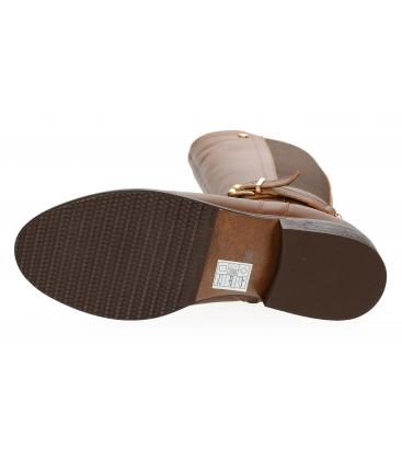 Hnedé elegantné čižmy so zlatou ozdobou DCI5070