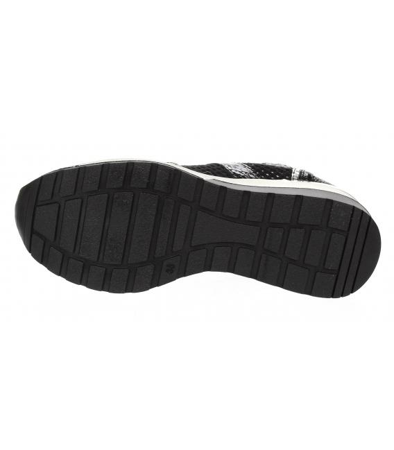 Čierne ligotavé kožené tenisky so strieborným vzorom Angel DTE3053