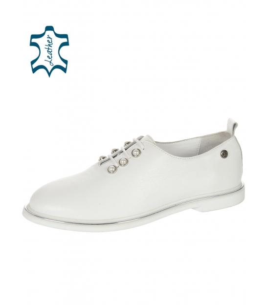 Biele dámske kožené poltopánky s perlami D-741