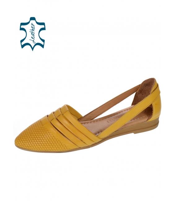 Žlté kožené otvorené baleríny 14-603