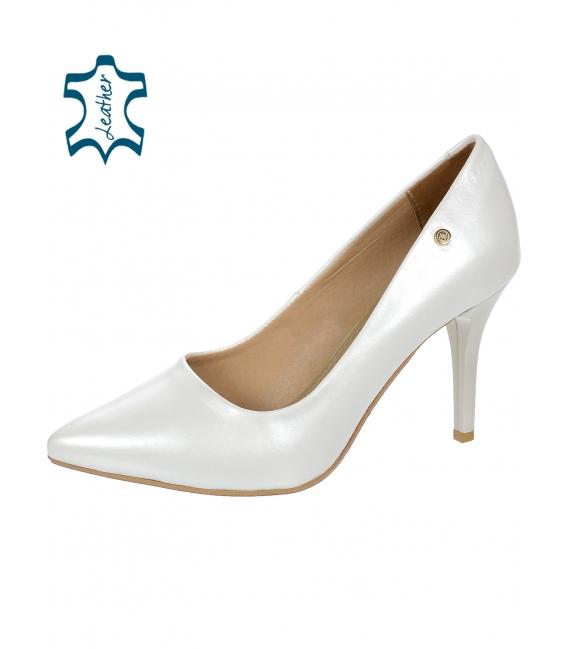 Biele perleťové elegantné kožené lodičky DLO944-861