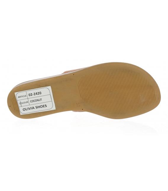 Hnedé kožené šľapky s gumou 02-2420