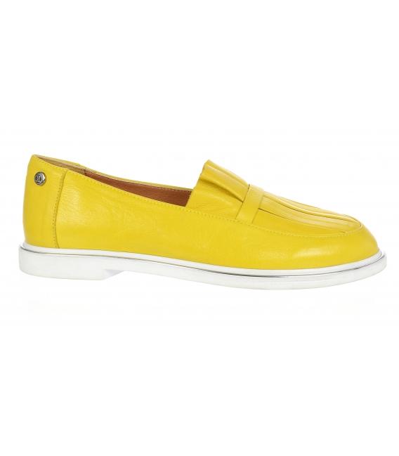 Žlté kožené slip on tenisky s ozdobou D-605