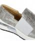 Tmavě stříbrné kožené tenisky s jemným vzorem K3064