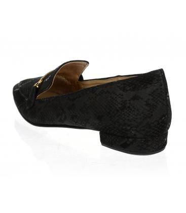 Černé elegantní kožené lordsy s hadím vzorem DBA041