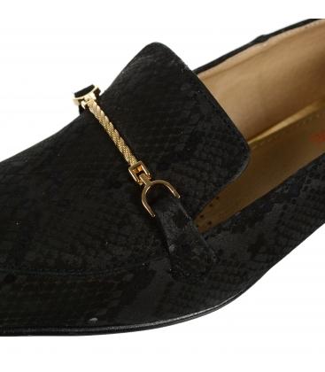 Čierne elegantné kožené lordsy s hadím vzorom DBA041
