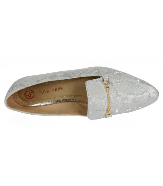 Stříbrné elegantní kožené lordsy s hadím vzorem DBA041