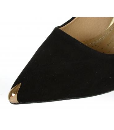 Čierne kožené lodičky so zlatým detailom DLO2117