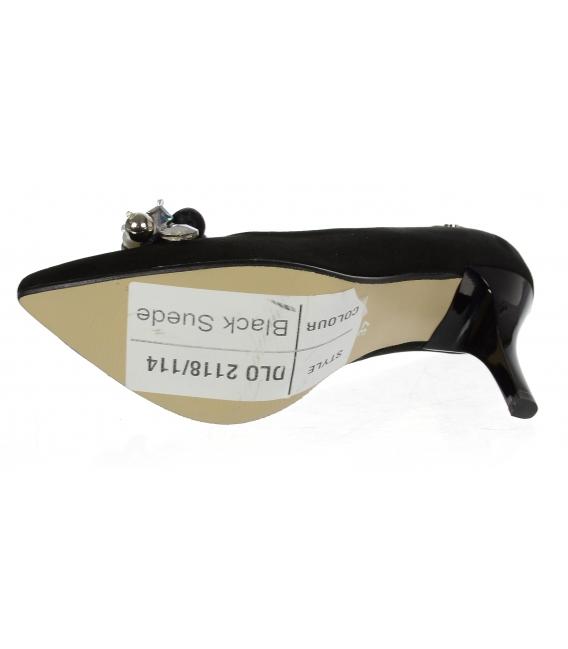 Čierne kožené lodičky s ozdobou DLO2118-114