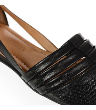 Čierne kožené otvorené baleríny 14-603