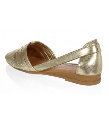 Zlaté kožené otvorené baleríny 14-603