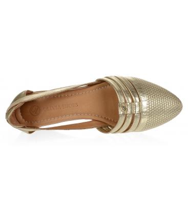 Zlaté kožené otevřené baleríny 14-603
