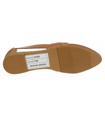 Hnědé kožené otevřené baleríny 14-603