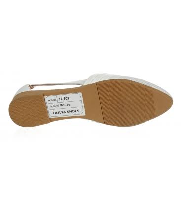 Bílé kožené otevřené baleríny 14-603