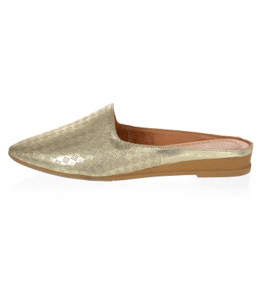 Zlaté kožené uzavřené pantofle 14-607