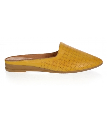 Žluté kožené uzavřené pantofle 14-607