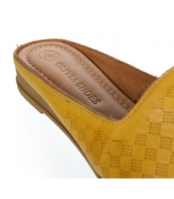 Žlté kožené uzatvorené šľapky 14-607