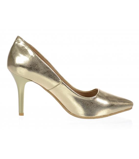 Zlaté elegantné kožené lodičky DLO944-861