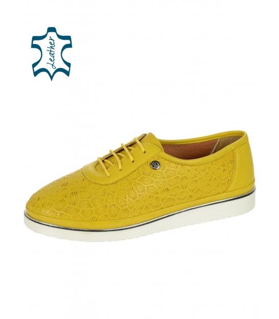 Žlté kožené tenisky s potlačou D-505