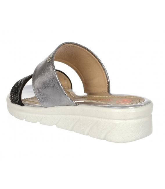Stříbrno černé kožené pantofle s černými kamínky DSL 2146