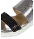 Strieborno- čierne kožené šľapky s čiernymi kamienkami DSL2146