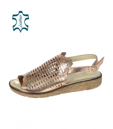 Medené perforované kožené sandále K2088