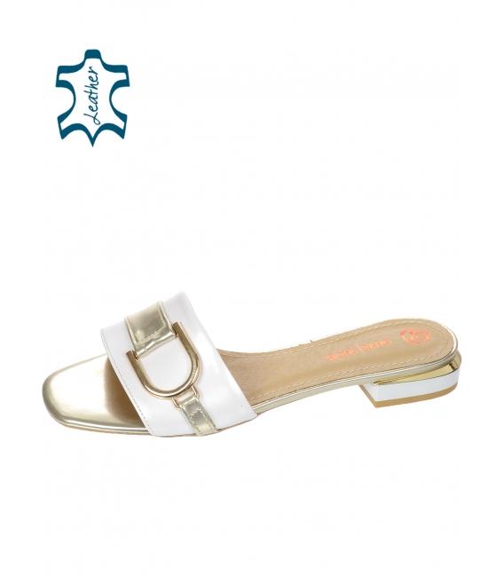 Biele perleťové šľapky so zlatou ozdobou DSL2141