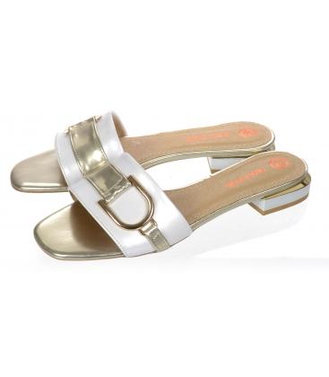 Bílo-zlaté pantofle se zlatou ozdobou DSL2141