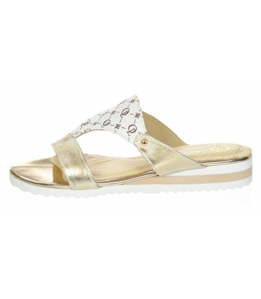 Zlaté elegantní pantofle s potiskem OL K2095