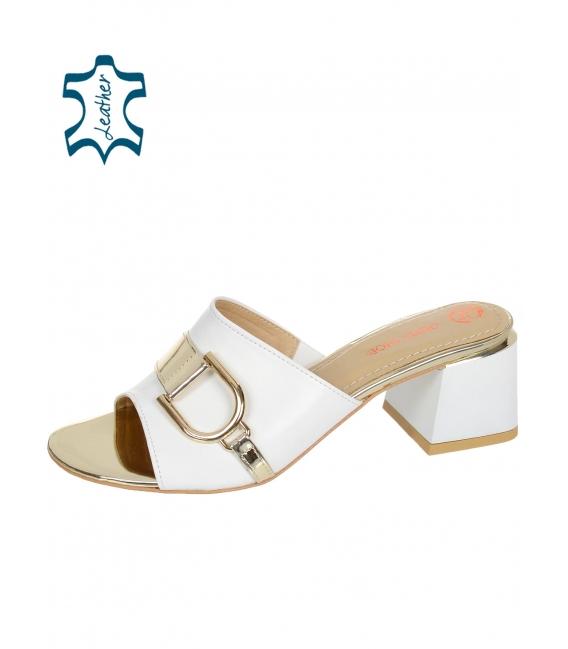 Zlaté pantofle se zlatou ozdobou na podpatku DSL2153