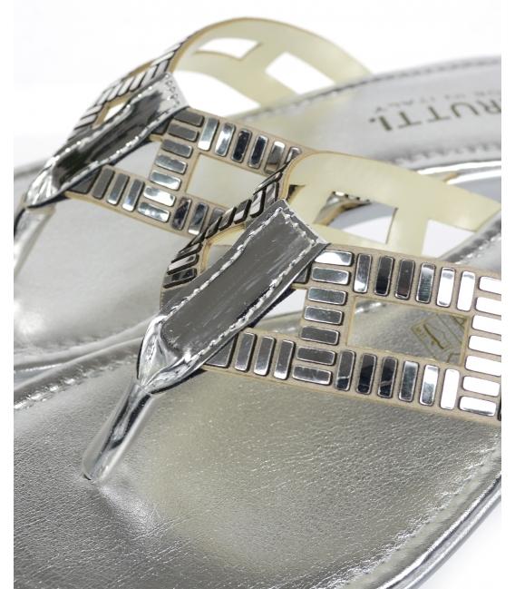 Strieborné šľapky s nazúvaním pomedzi prsty - 20615 - Cerutti
