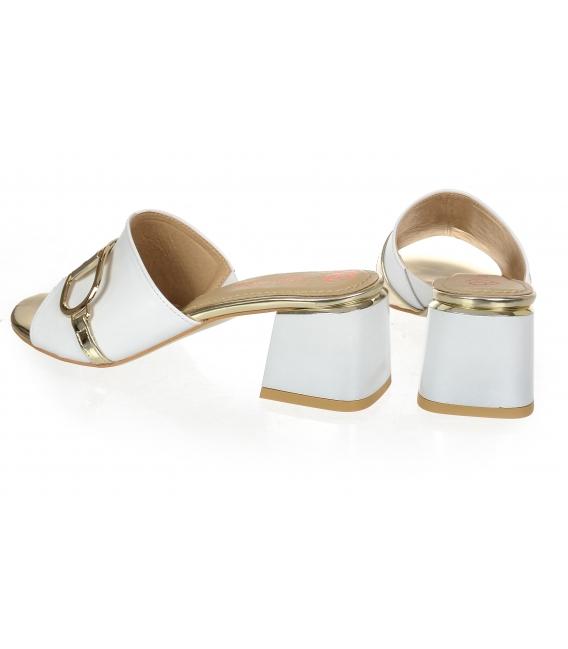 Bílo-zlaté pantofle se zlatou ozdobou na podpatku DSL2153