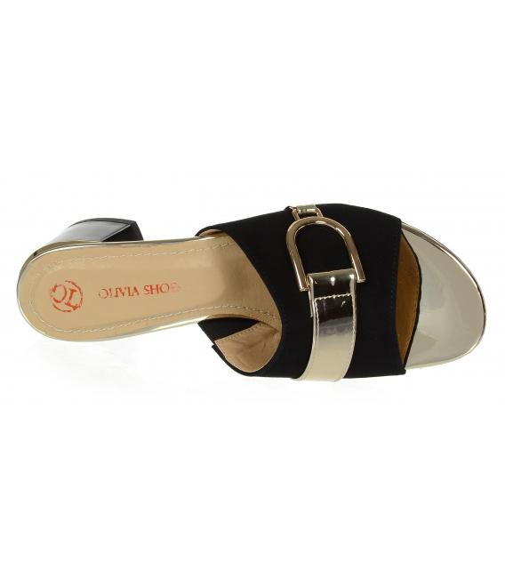 Černo-zlaté pantofle se zlatou ozdobou na podpatku DSL2153